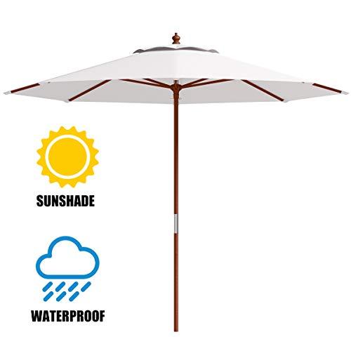 Tangkula Patio Umbrella Height Adjustable Wood Pole Outdoor Sun Shade Beige - 9 Umbrella Wood
