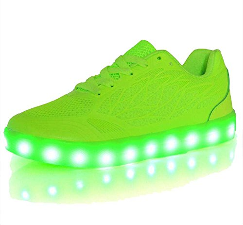 Zapatillas de Deporte Femeninas Zapatos de Color Caramelo de Verano Zapatos de luz LED Zapatos Ligeros Respirables Zapatos Deportivos Verde