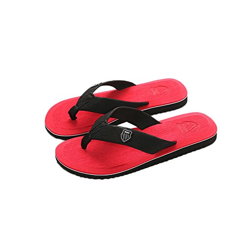 LYN Star♪ Women's Tide Rhinestones Toe-Post Sandal - Ladies Flip-Flop with Concealed Orthotic Arch Support Red