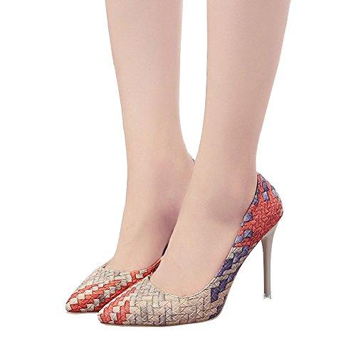 Mariage Pointu Toe Rouge À Tresse De Mode Cocktail Sandales Pour Pompes De ANDAY Dames Femmes Fête Talons Hauts Chaussures W1qXaX