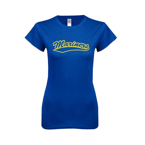 Maine Maritime Next Level Ladies Softstyle Junior Fitted Royal Tee 'Mariners Script'