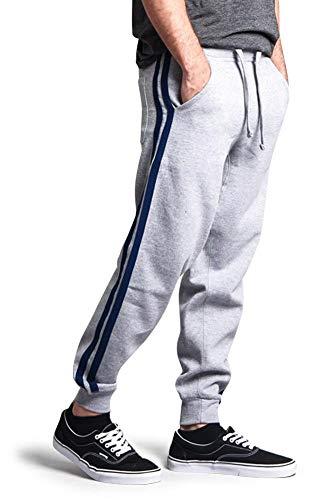 G-Style USA Premium Cotton Blend Two Stripe Loose Fit Fleece Sweatpants - MJ13122 - Heather Grey/Royal Caviar - Large ()