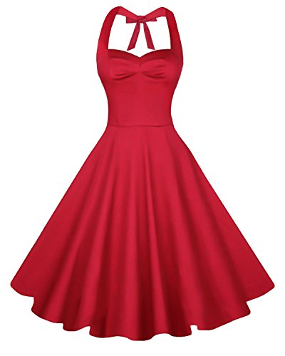 [Anni Coco Women's Halter Polka Dots 1950s Vintage Swing Tea Dress - Large - 2nd - Red] (Halter Stretch Costumes)