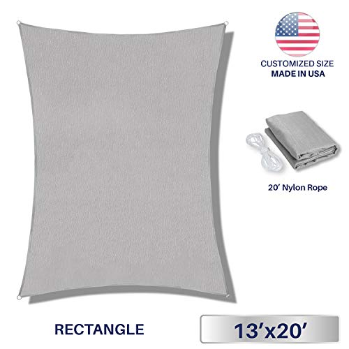 Windscreen4less 13 x 20 Sun Shade Sail UV Block Fabric Canopy in Light Grey Rectangle for Patio Garden Customized 3 Year Limited Warranty