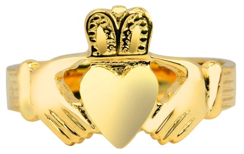 14K Gold Claddagh Ring Mens Solid (9.5)