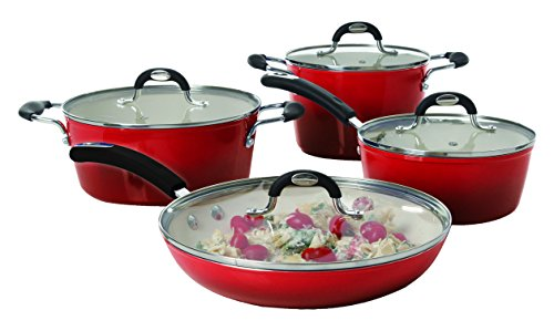 Oster 108119.08 8 Piece Gage Forged Aluminum Cookware Set With Ceramic Nonstick Interior, Red