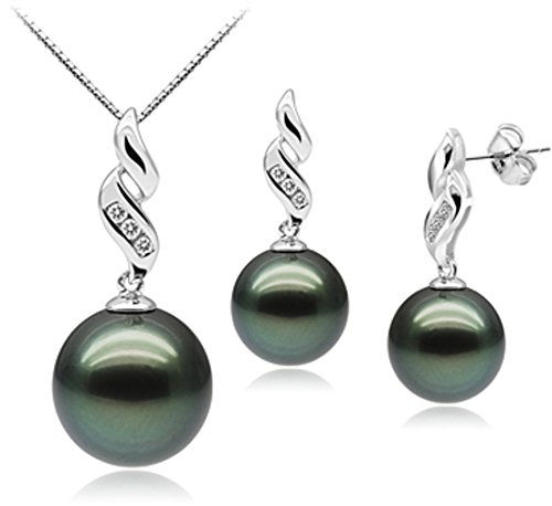 PearlsOnly Seductive Black 9 11mm AAA Quality Tahitian 10K White Gold Cultured Pearl Set