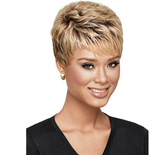 SmartFactory Women Short Natural Permanent Blonde Human Hair Synthetic Fiber Wigs for Usual Life -