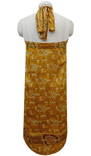 rversible Saree Soie Indianbeautifulart Les Beige Rouge Dress Summer Pure et Check Ocre Beach Vintage Wrap Imprimer Femmes nX0rXw8q