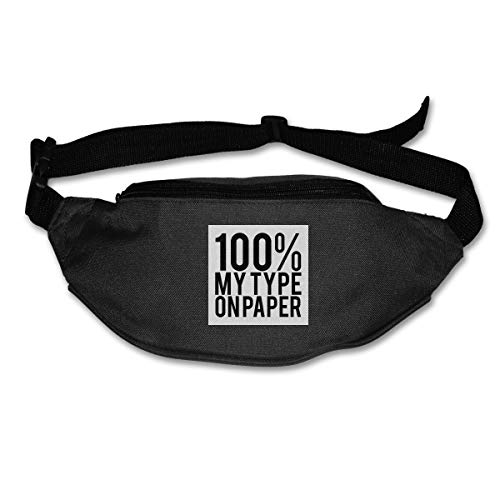 Fanny Pack For Women Men Love Island Quote 100 Percent My Type On Paper Black Waist Bag Pouch Travel Pocket Wallet Bum Bag For Running Cycling Hiking Workout (100 My Type On Paper Love Island)
