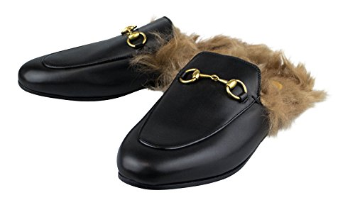 .Gucci. Princetown' Black Leather W/Fur Mules Shoes Size 6.5 US 36.5 EU