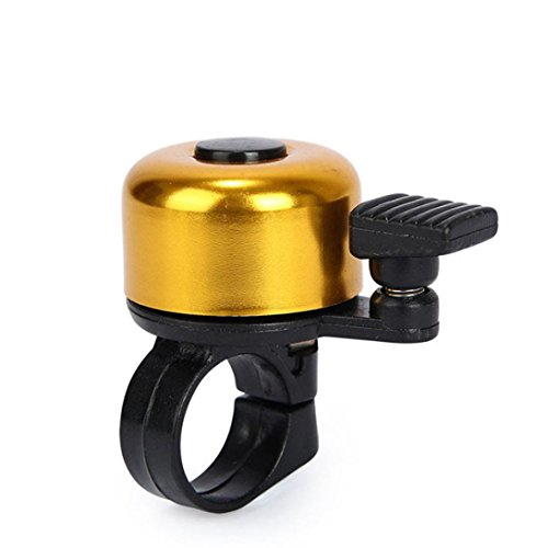 Dartphew Bike Accessories,Outdoor Durable Emergency Mini Bicycle Handlebar Metal Ring Black Bike Bell Horn Sound Alarm For Safety Cycling For Hiking Camping Hunting Cycling (Gold)