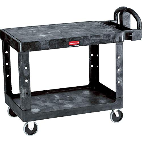 Rubbermaid Commercial Heavy-Duty Utility Cart, Ergo Handle, Flat Shelves, Medium, Black (FG452500BLA)
