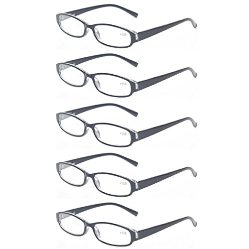 Reading Glasses Comb Pack of Multiple Fashion Men and Women Spring Hinge Readers (5 Pack Black, 3.5)
