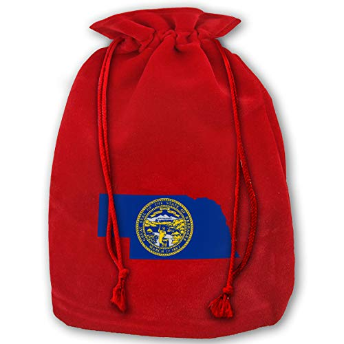 - Leisue Nebraska Flag Map Bags Drawstring Santa Sack Decorations