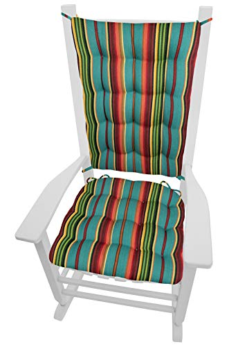 (Barnett Products Santa Fe Serape Stripe Rocking Chair Cushions - Size Extra-Large- Seat Cushion and Back Rest - Latex Foam Fill - Southwest)