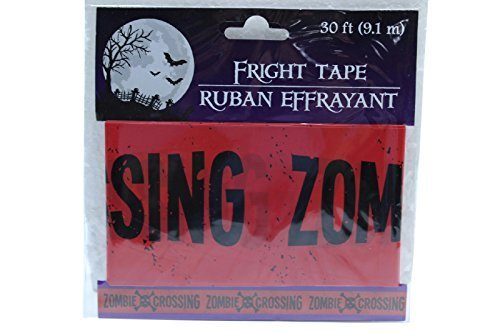 30 ft Red Zombie Crossing Fright Tape Halloween Decoration Haunted (Pack of 2)