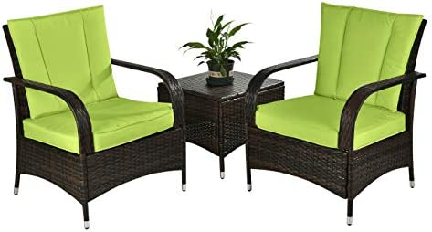 DECMICO 3-Piece Patio Rattan Conversation Chair Set