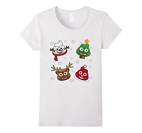Womens Funny Emoji Christmas Poop Cute Holiday Snowflake T-Shirt XL (Snow White Halloween Face)