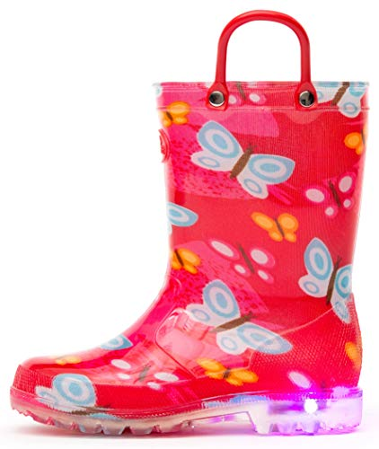 Outee Toddler Girls Little Kids Light Up Rain Boots Printed Waterproof Shoes Lightweight Cute Red Butterfly with Easy-On Handles and Insole (Size 10,Red)