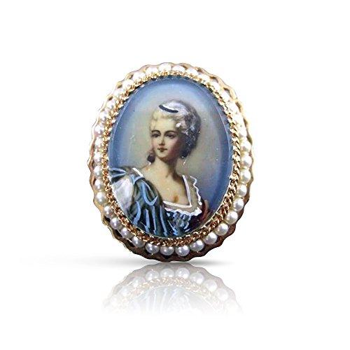 Milano Jewelers LARGE 2.5MM PEARL 14KT YELLOW GOLD LADY CAMEO FILIGREE PIN PENDANT #2694 ()