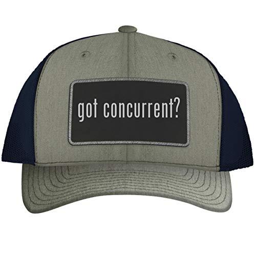 got Concurrent? - Leather Black Metallic Patch Engraved Trucker Hat, HeatherNavy, One Size