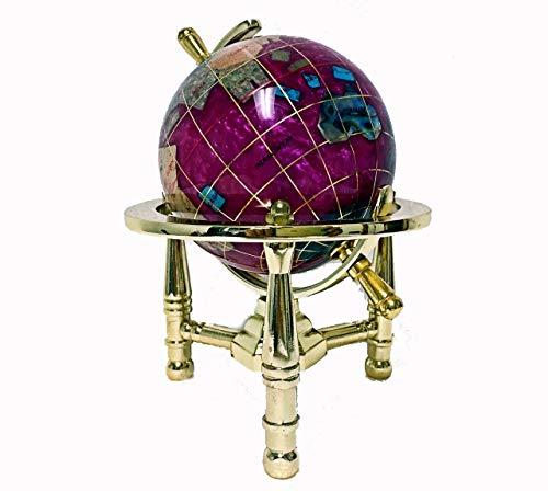 "Unique Art 6"" Tall Pink Pearl Swirll Tripod Gold Leg Table Stand World Map Gemstone Globe"