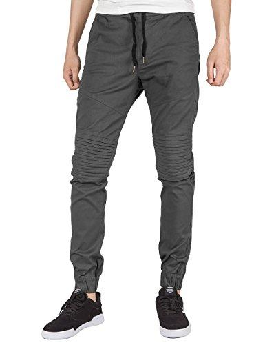 ITALY MORN Men Chino Jogger Casual Pants Biker Jogging Twill Khakis Slim Black (M, Dark Grey)