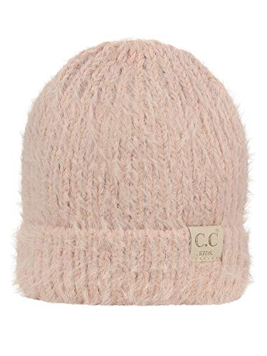 (C.C Kids' Children's Soft Warm Fuzzy Two Tone Cuff Beanie Skull Cap, Rose)