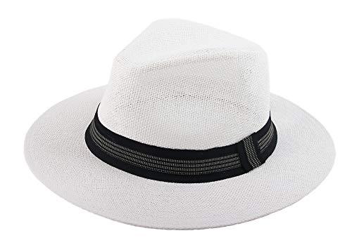 Melesh Classic Sun Straw Panama Hat (L/XL, White-Black Band)]()
