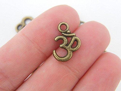 24 Bronze Om Charms 15x10mm Antiqued Bronze (CB066) ()