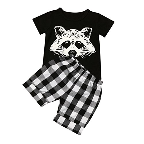 Boy's Clothes,Kstare Toddler Baby Boy Fox T Shirt Tops Plaid Shorts Pants Outfits Summer Clothes Set (2T, Black)