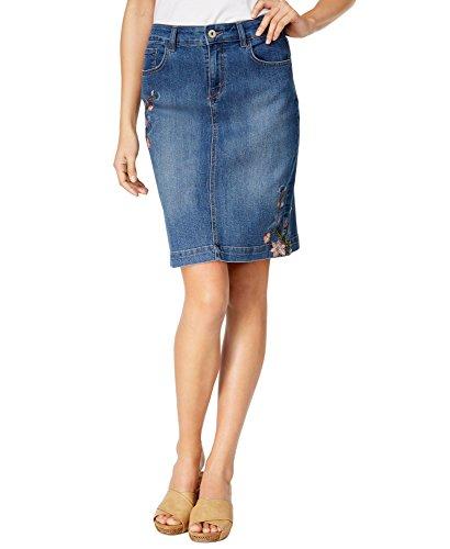 Style & Co. Women's Embroidered Denim Skirt, Denim(Craft), Size 18 (Spandex & Co Skirt . Style)
