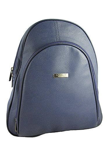 Lorenz Bag Approx Blue Colours Day Blue Capacity Small Grain Bag 6 Zip Leather PU Navy Shoulder Around Backpack Navy Various liters rw47vranq