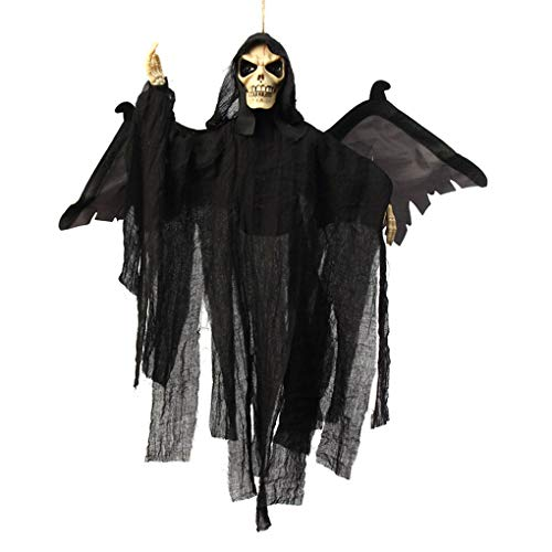 Halloween Hanging Decorations Animated Flying Ghoul Ghost Witch with Sound & Glowing Red Eyes Scary Grim Reaper Skull Vampire Haunted House Yard Theme Bar Spooky Devil Ornament Decor Props Toys Gift]()