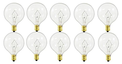 Pack of 10 40-Watt G16.5 Decorative Globe E12 Candelabra Base Clear Light Bulbs (Clear E12 Globe Candelabra Base)