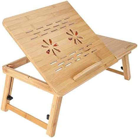 Bamboo Laptop Desk, Adjustable Portable Breakfast Serving Bed Tray Multifunctional Table with Tilting Top Storage Drawer Wood Double Fan