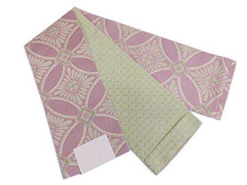 力学ヤング肘小粋半巾帯半幅帯薄あずき色地七宝菱菊 洗える着物&小紋に 日本製