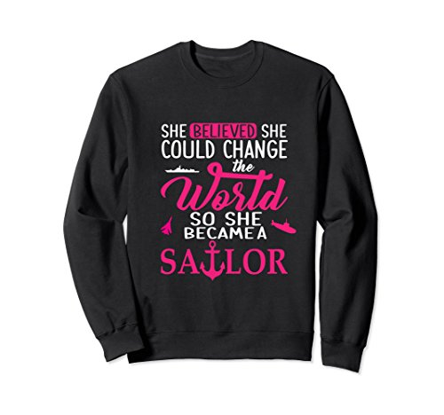 Unisex She believed she could for sailor sweatshirts Large Black