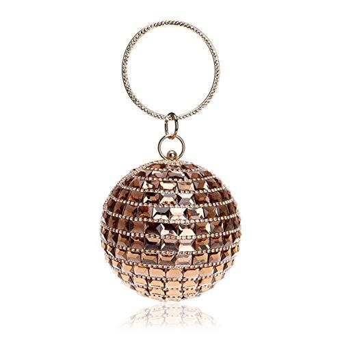 Brillante Partido Mujeres Lujo Rhinestone Diamantes Asas Bolso Qjxsan Gold Esférico Monedero De Noche Decoración Las Banquete Embrague TqBzCwnFO
