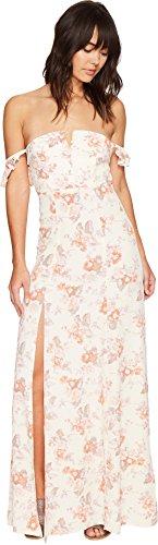 Flynn Skye Women's Bardot Maxi Dress, Cream Blossoms, Medium