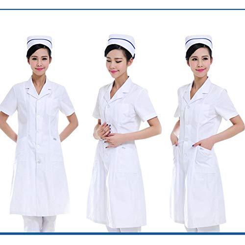 ESENHUANG Mujeres De Manga Larga Blanco Abrigo Médico Servicios De Enfermería Ropa Médica Uniforme Ropa Blanca De Laboratorio Ropa De Médico del Hospital: ...