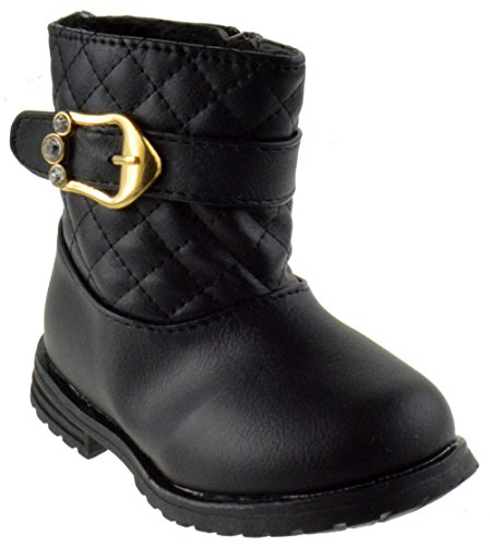 BBTI 5ks Girls Rhinestone Buckle Quilted Ankle Boots Black 6