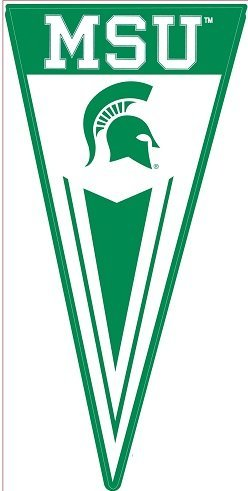 12 inch MSU Pennant Flag Decal Michigan State University Spartans Logo Removable Wall Sticker Art NCAA Home Room Decor 12 by 6 inches
