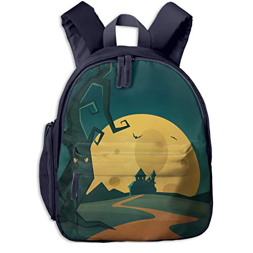 Halloween Background Double Zipper Waterproof Children Schoolbag With Front Pockets For Youth Boys Girl