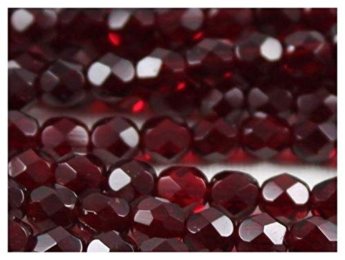 100 pcs Czech Fire-Polished Faceted Glass Beads Round 5mm Dark Ruby Garnet