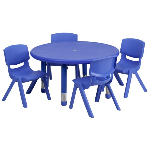 Flash Furniture 33'' Round Blue Plastic Height Adjustable Activity Table Set with 4 Chairs by Flash Furniture