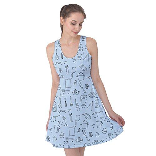PattyPattern Womens Kitchen Line Drawing Pattern Reversible Sleeveless Dress (xl, light blue)