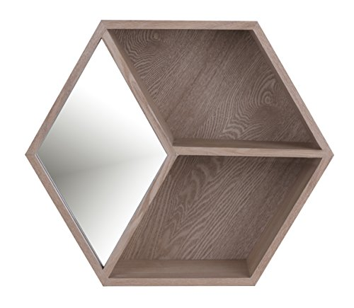 ArtMaison.ca 18x15 Hexa II, Wooden Shelf Mirror, Medium, Brown
