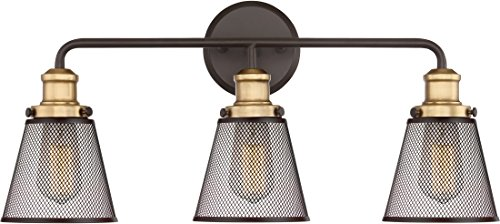 - Quoizel VLT8603WT Vault Metal Mesh Bath Vanity Wall Lighting, 3-Light, 300 Watts, Western Bronze (11